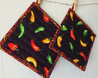 Hot Peppers Potholders
