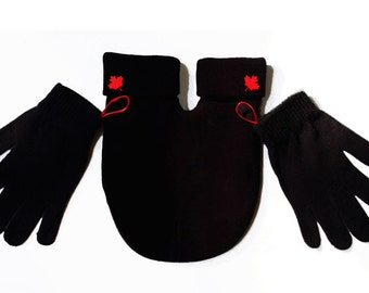 Red Maple Leaf Smitten (Mitten for couples) Gloves and Smitten Card Included. Share your mitten! FREE Shipping USA