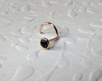 Tiny Black Onyx in Solid Rose Gold Nose Stud,  Onyx or a Gemstone Of Your Choice in 14k Solid Gold Nose Stud or Single Earring SPECIAL SALE