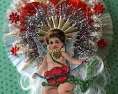 Vintage Look Cupid Valentine Ornament Victorian-Early 1900's Postcard Cupid, Spun Glass,German Tinsel,German Dresdens,Vidntage Reflector