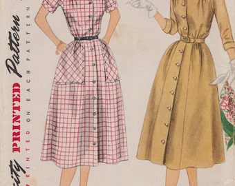 Simplicity 3944 / Vintage 50s Sewing Pattern / Shirtwaist Dress / Size 20 Bust 38