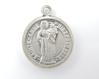 Vintage Saint Anne de Beaupre Catholic Medal - Scapular Medallion - Religious Charms - Catholic Jewelry - X3