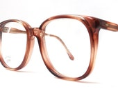 vintage 1980's NOS eyeglasses oversized round brown tortoise shell plastic frames clear lenses prescription mens womens modern eye glasses