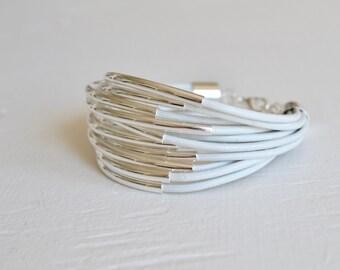 White Leather Cuff Bracelet with Silver Tube Beads - Multi Strand Bangle Women's Bracelet  ... by  B A L O O S