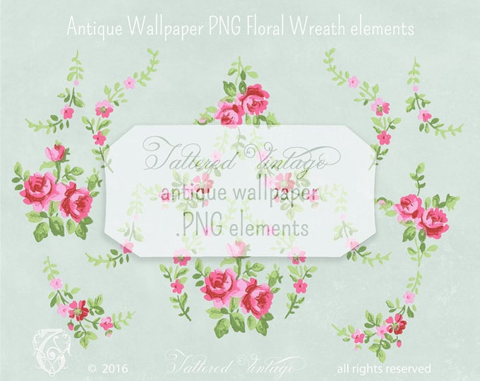 Antique Wallpaper Floral Wreath Roses PNG Clip Art: 10 Transparent Elements Digital Download