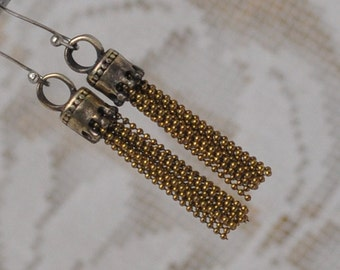 Pair Small French Antique Style Gold Brass Crowned Tassel Pendant Charm Vintage 2 Pieces
