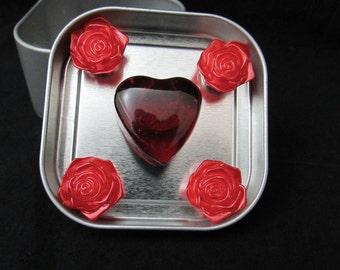 Fridge magnet set, Red heart fridge magnets, red rose fridge magnets, neodymium magnets, strong magnets 533