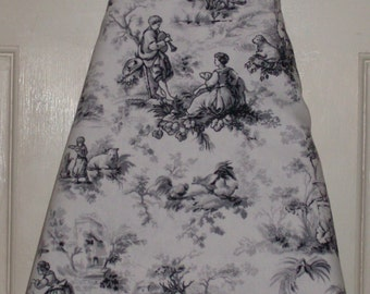 "Ironing Board Cover  Black/White Toile 18"" X 54"""