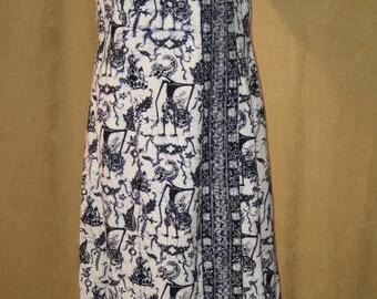 Batik Print Dress Maxi 60s Vintage