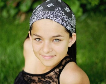 Hair Bandana, Black Bandanna, Hair Headwrap, Bandanna Headband, Black Wide Headband (#4001) S M L