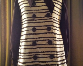 Vintage 1960's Mam'selle Couture Blouse & Linen Striped Vest