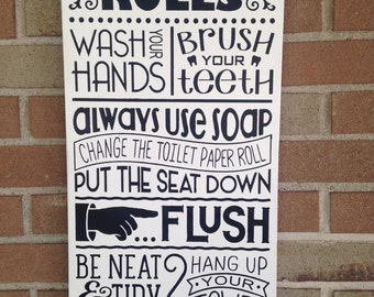 Bathroom DecorBathroom Rules SignHome Typography Sign Wood