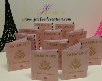 Paris theme Passport Invitations (8) Passport only