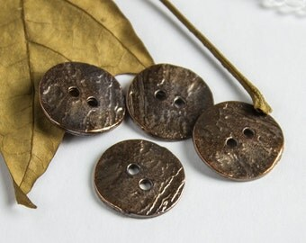4 Buttons - Bronze Patina Cornflake button beads Casting 16mm textured rustic buttons for your knitting / crocheting craft supplies (4 pcs)