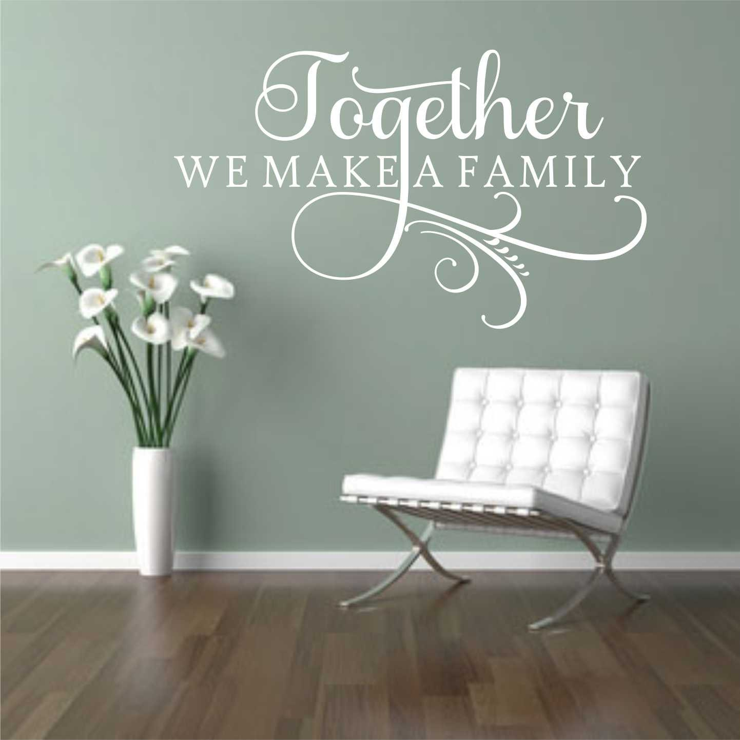 Together make Family Decal, Vinyl Wall Lettering, Vinyl Wall Decals, Vinyl  Decals, Vinyl Lettering, Wall Decals, Swirl Decal, Family Decal