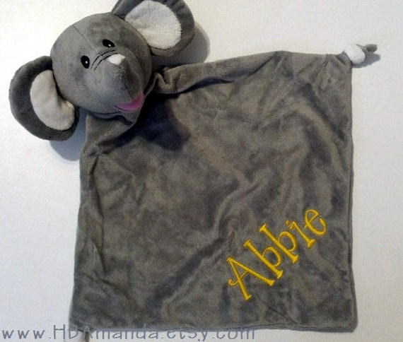 gray elephant minky blanket monogrammed elephant blankie