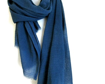 Blue Cotton Scarves - Hand Dyed - Organic Cotton - Mens Cotton Scarf