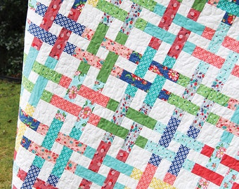 Basket Case Quilt Pattern - Cluck Cluck Sew #116 - Jelly Roll Friendly Quilt Pattern - Basket Weave Quilt