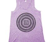 Purple Mandala Tank Top, Womens Boho Tank Top,Triblend, Racerback, Flower Tank Top, BOHO - Small, Medium, Large, XL