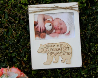 Baby Picture Frame Rustic Nursery Decor Baby Photo Frame Baby Shower Gift New Parents Hospital Gift Our Greatest Adventure Picture Frame