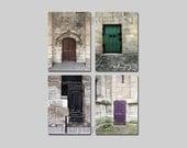 Sale - Brown Purple Paris Door Wall Decor / Rustic Vintage Paris Door Photography / Paris Wall Art Set of 4 Prints
