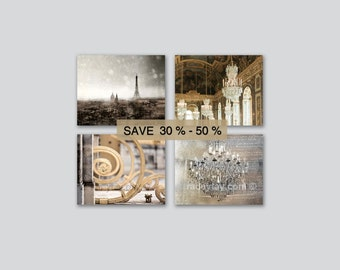 Paris Photography, Gold, Silver, Set of 4 Prints, Chandelier Wall Art, Versailles & Paris Print Set