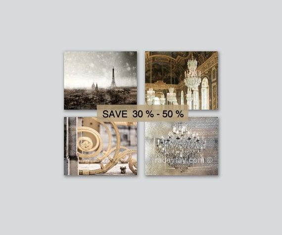 Paris Photography, Gold, Silver, Set of 4 Prints, Chandelier Wall Art, Versailles & Paris Print Set