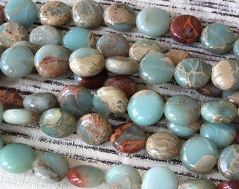 African Opal Beads 8mm Coin Beads - Jewelry Making Supply - Aqua Terra Jasper - Gemstone Coin Beads - Choose Amount