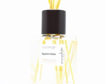 Reed Diffuser Oil - Egyptian Cotton Room Diffuser Oil Square Vase, Natural Dyed Reeds