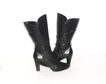 YVES SAINT LAURENT Vintage Black Leather Calf High Boots High Heel 10 - Authentic -