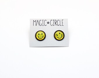 Holographic Smiley Face Happy Face Emojii Earrings