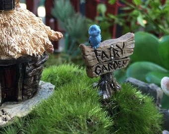 Micro Mini Fairy Garden Sign With Blue Bird,  Garden Decor, Terrarium Accessory, Embellishment