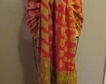 Orange Gold chiffon Hip Scarf shawl Bellydance belly dance tribal fusion cabaret ATS