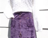 Vintage 1970's MOD Purple Velveteen Mini Skirt with 2 Ring Pull Zipper - Sexy BOHO Miniskirt - sz Medium