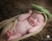 "Ready to Ship, Crochet Newborn sage ""Dapper"" Baby Boy Newsboy Hat, Photo Prop, Photography Prop, Baby Shower Gift, Golf Hat, Paper Boy hat"