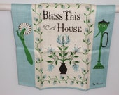 Vintage Tammis Keefe / Peg Thomas Blue Mid Century Linen Kitchen Towel God Bless This House