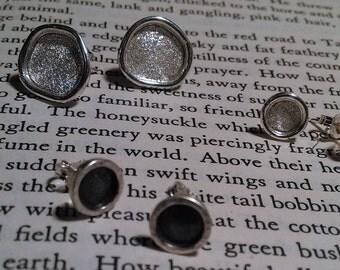 Sterling Silver Diamond Textured Post Earrings