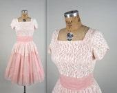 1950s lace party dress • vintage 50s dress • pink cupcake dress (SH)