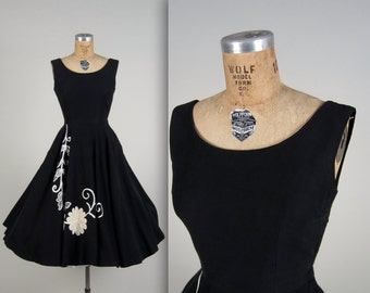 1950s embroidered circle skirt dress • vintage 50s dress • black day dress