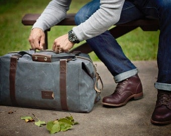 NO. 495 Men's Duffle Bag, Personalized Weekender Bag in Slate Gray Waxed Canvas, Back to School Gift, Gym Bag, Flight Carry On Travel Bag