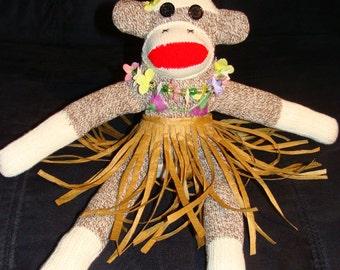 Hula Girl Hawaiian Sock Monkey