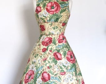 Red Poppy and Daisy Print Vintage Cotton Satin Tiffany Dress - Made by Dig For Victory