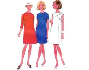 60s Shift Dress Pattern Butterick 4970 Vintage Sewing Pattern Size 10 1/2 Bust 33 inches