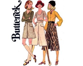 Butterick 5945 Womens A Line Zipper Front Skirts 70s Vintage Sewing Pattern Waist 24 inches