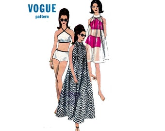 FAB 60s Tent Dress and Swimsuit Pattern Vogue 6771 Boyleg Bikini Maxi Muu Muu Cover Up Vintage Sewing Pattern Size 14 Bust 34 Inches
