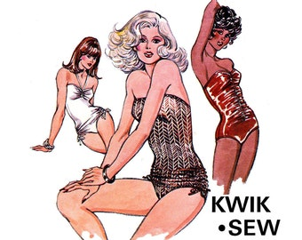 70s Retro One Piece Ruched Womens Swimsuits Pattern Kwik Sew 990 Maillot Bathers Sewing Pattern Vintage PLUS SIZE Sizes 12 14 16 UNCUT F F