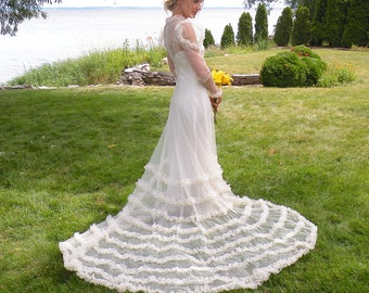 1930s Wedding Dress, Vintage 30s Wedding Gown, Ruffled Net Lace Bridal Dress with Train