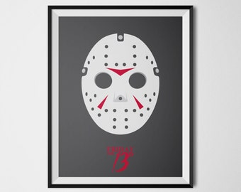 Jason Voorhees Mask Friday the 13th Horror Movie Decor Minimalist Movie Poster Horror Movie Prints Cool Posters Movie Printables