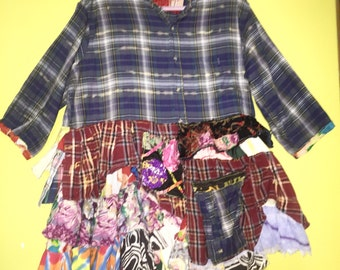 Upcycled Blue Plaid Flannel shirt jackets ruffles fits  XL 1X 2X