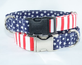 Glory American Flag 4th of July Independence Day Dog Collar - SMALL stars